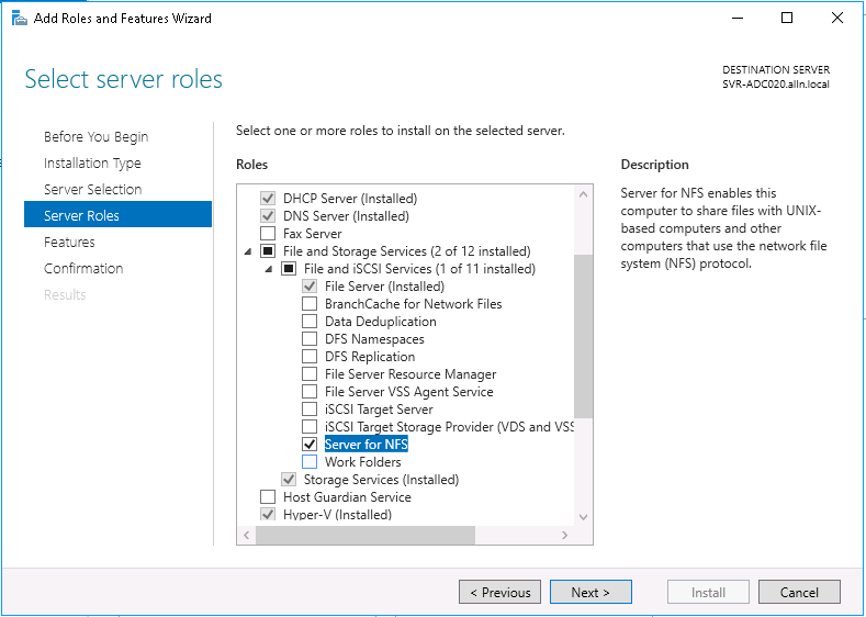 Windows Server 2016 as an NFS server for Linux clients